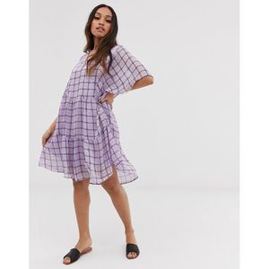 ASOS Y.A.S Petite textured check smock mini dress